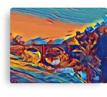 Dinham Bridge in Abstract Crayon Canvas Print