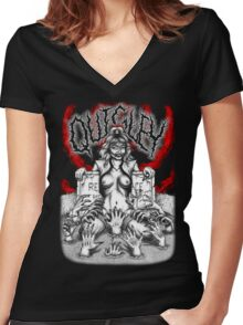 Say You Love Satan 80s Horror Podcast - Linnea Quigley - Night of the Demons - Return of the Living Dead Women's Fitted V-Neck T-Shirt