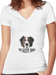 QUALITY_DOG Women's Fitted V-Neck T-Shirt