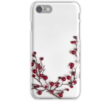 Red berries holly on white iPhone Case/Skin