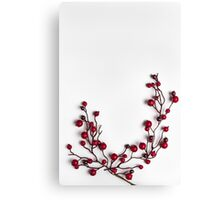 Red berries holly on white Canvas Print