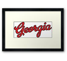 Georgia Script Red Black Outline Framed Print