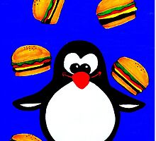Penguin with Cheeseburgers by InkComplete