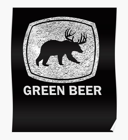 Green Beer white Poster