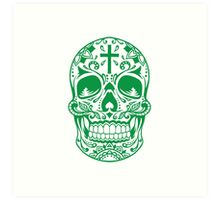 Sugar Skull Green Art Print