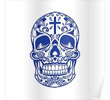 Sugar Skull Blue Poster