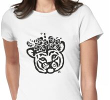 Floral Baby Tiger Cub Womens Fitted T-Shirt
