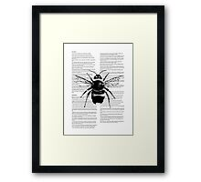 Bumble Bee On Text Framed Print