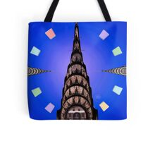 Chrysler Building on Blue Tote Bag