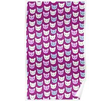 Cute Cat Pattern Violet Background Poster