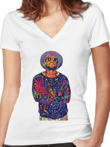 Abstract Schoolboy Q Women's Fitted V-Neck T-Shirt