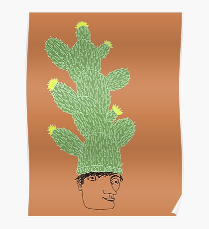 Cactus Hat Hipster Street Wear Poster