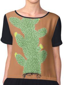Cactus Hat Hipster Street Wear Women's Chiffon Top