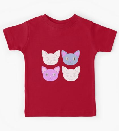 Cute Cat Pattern Violet Background Kids Tee