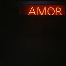Neon light sign Amor love in Spanish on black medium format film analogue photo by edwardolive