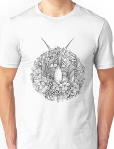 Bird in black and white Unisex T-Shirt