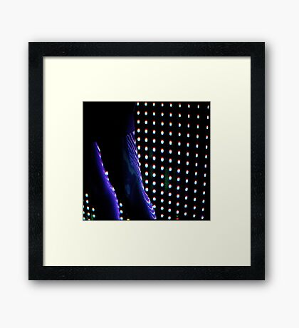 Futuristic shop dummy mannequin at night in led light effect analogue film photograph Framed Print
