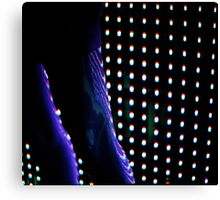 Futuristic shop dummy mannequin at night in led light effect analogue film photograph Canvas Print