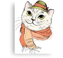 Fashion Portrait of Hipster Cat in scarf and hat Canvas Print