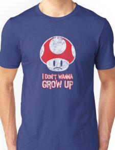 Distressed Mario Mushroom - I Don't Want to Grow Up (Sad Face) Unisex T-Shirt