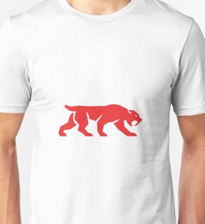 Saber Tooth Tiger Cat Silhouette Retro Unisex T-Shirt