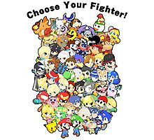 Super Smash Bros. All 58 Characters! Choose Your Fighter!! Group Photographic Print