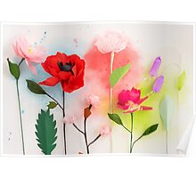 Paper flowers and watercolors Poster