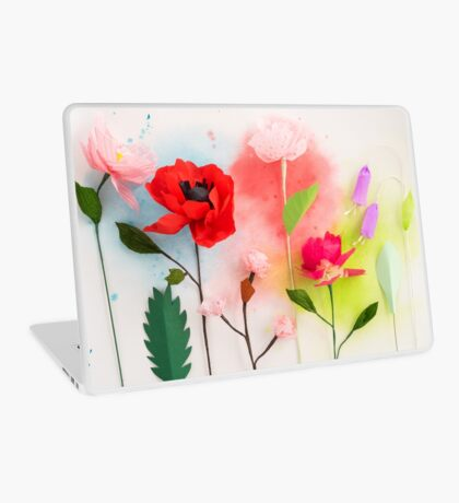 Paper flowers and watercolors Laptop Skin