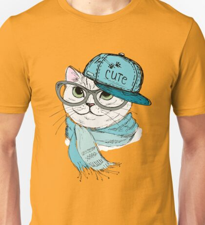Fashion Cat in a cap,scarf and glasses Unisex T-Shirt