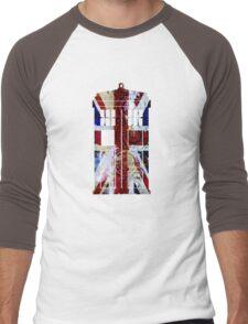 Union Jack TARDIS with Gallifreyan  Men's Baseball ¾ T-Shirt