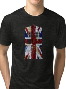 Union Jack TARDIS with Gallifreyan  Tri-blend T-Shirt