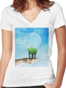 Save Green Women's Fitted V-Neck T-Shirt