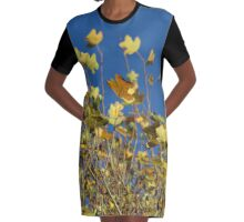 Yellow Leaves & Blue Sky Graphic T-Shirt Dress