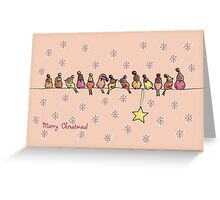 Little Christmas birds in pastel with snow Greeting Card