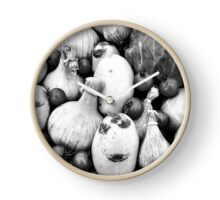 THERE IS A FUNNY FACE POTATO THERE!!! Food in B&W  Clock