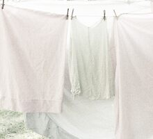 Laundry on the Line in Pastel Pink and Green by BrookeRyanPhoto
