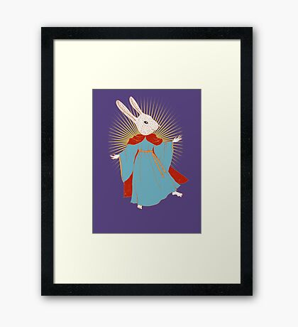 Saint Bunny has your back Framed Print