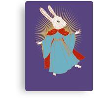 Saint Bunny has your back Canvas Print
