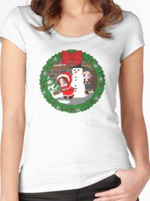 Christmas Chibitalia and Holy Rome Women's Fitted Scoop T-Shirt