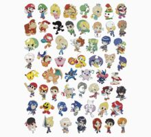Super Smash Bros. All 58 Characters!  One Piece - Short Sleeve