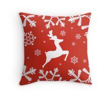 Snowy Reindeer Throw Pillow