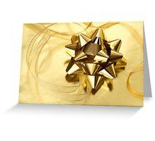 Gold Christmas bow& ribbon  Greeting Card
