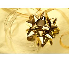Gold Christmas bow& ribbon  Photographic Print