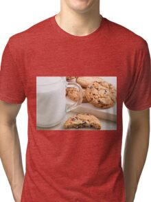 Glass cup with milk and oatmeal cookies with chocolate Tri-blend T-Shirt