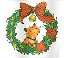 Orange Tabby Cat in a Holiday Wreath Poster