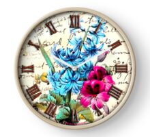 029 Wall Clock Blue and Pink Flowers Clock
