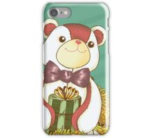 Patchwork Teddy Bear with Gold Garland iPhone Case/Skin