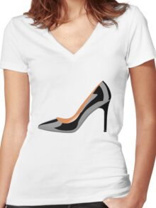Classic High Heeled Shoe in black Women's Fitted V-Neck T-Shirt