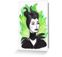 Green Flames Maleficent Ink Painting Greeting Card