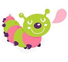 Colorful caterpillar Kids art : pink green Photographic Print